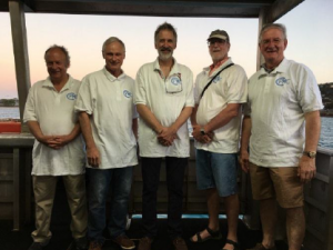Upon arrival, College Presidents took to their CPMC polo shirts for a tour of the WWII history of Horn Island.