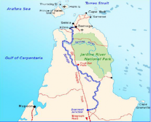 Bamaga Map Showing the Torres Strait and Cape York Peninsula